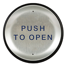 "BEA - 6"" Round Panther Plate with Blue ""Push to Open"" Text with integrated 900 MHz transmitter 10EMR6-900"