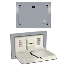ASI - Baby Changing Station - HORIZONTAL Surface Mounted STAINLESS STEEL - 10-9018-9