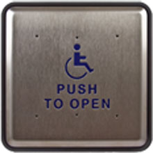 "BEA - 6"" Square Push Plate w/ Handicap Logo and Push to Open Text 10PBS61"