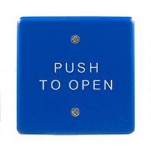 "BEA - 4.5"" Square/Blue powder coat-faced plate with white Push to Open text - 10PBS45B DS-BEA101"