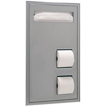 Bobrick - CLASSIC SERIES PARTITION-MOUNTED TOILET SEAT-COVER AND TOILET TISSUE DISPENSER 34715 DS-BR464