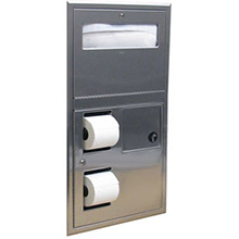 Bobrick - Classic Series Partition-Mounted Toilet Seat-Cover Dispenser, Sanitary Napkin Disposal, and Toilet Tissue Dispenser 35745 DS-BR467