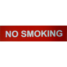 "Signage - 2"" x 8"" No Smoking Sign Red with White Lettering 32166"