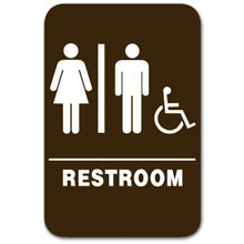 Eaglestone - Sign, Restroom, Unisex/Accessible, Brown/White - 3806 32417