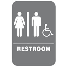 Eaglestone - Sign, Restroom, Unisex/Accessible, Grey/White - 4406 32418