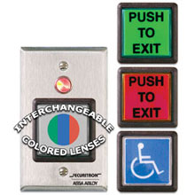 Securitron - Push Button  2in Sq Grn  Momentary - Dbl Pole w/ Light - Single Gang - PB22 DS-SE501