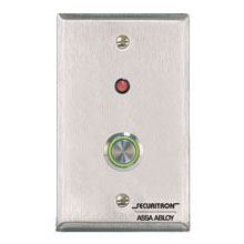 Securitron - PB4L-2, Push Button [DP], Momentary, Single Gang, Green Illuminated Halo DS-SE977